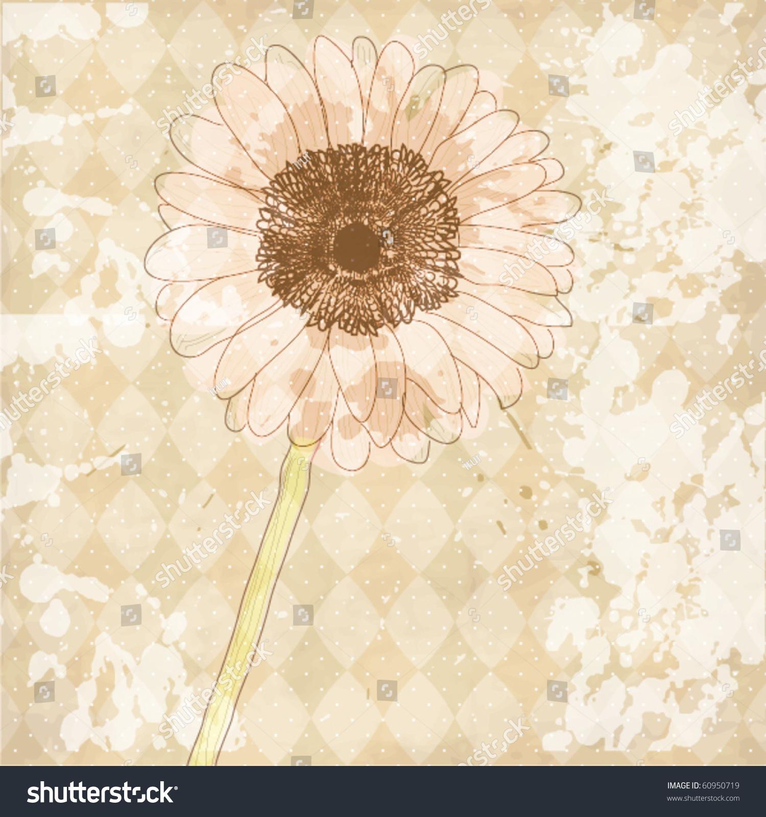 Vintage Old Paper Background Flower Vector Stock Vector 60950719