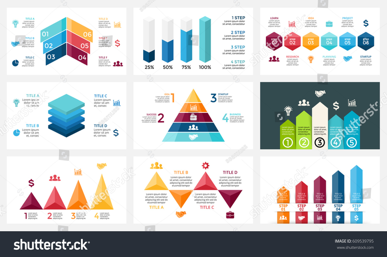 Infographic Five Step 3d Triangle Arrow Stock Vector Auto Trailer Wiring Harness Chanchito Arrows Diagram Chart Graph
