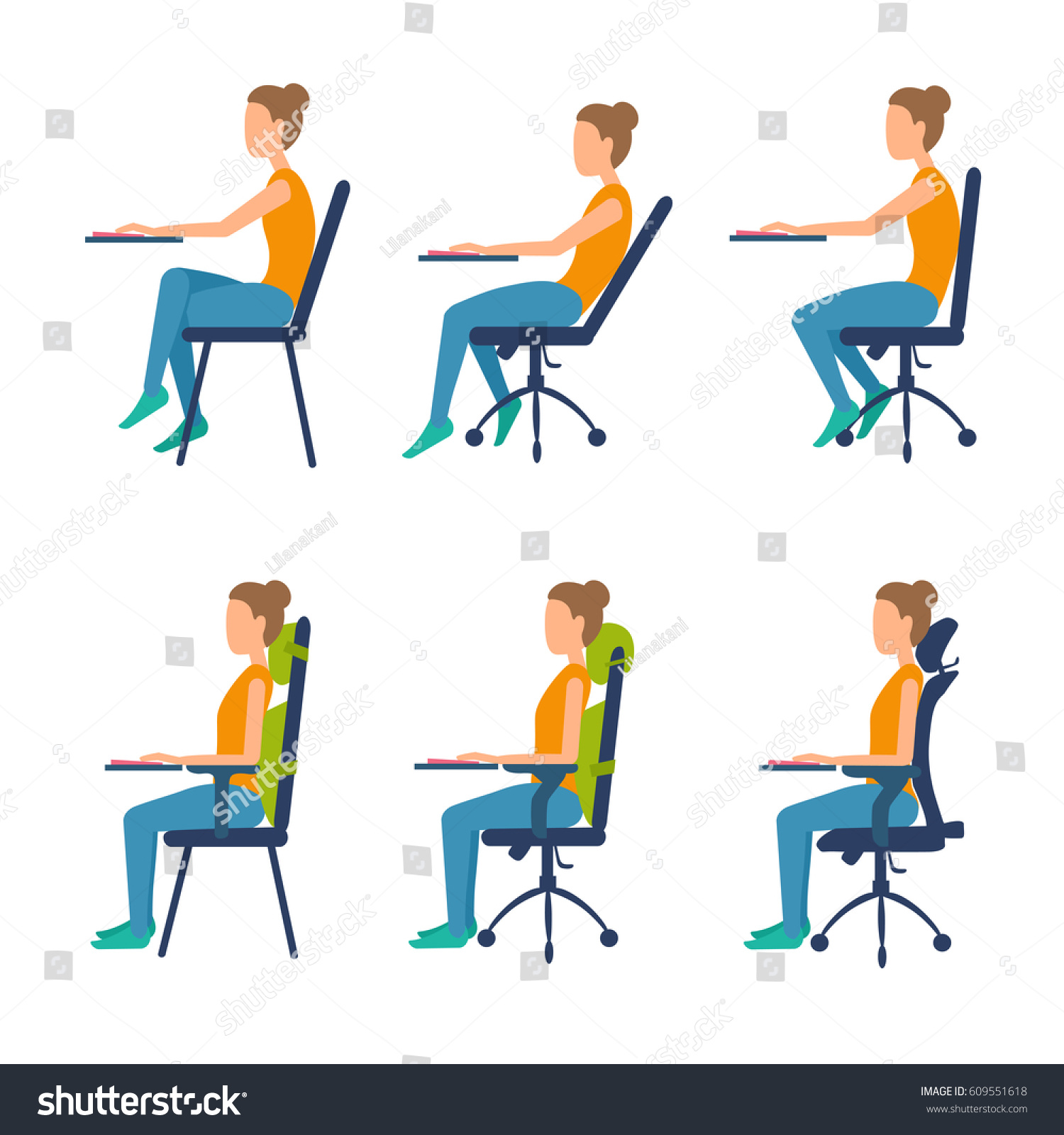 Correct Incorrect Position Sitting Table Ergonomic Stock