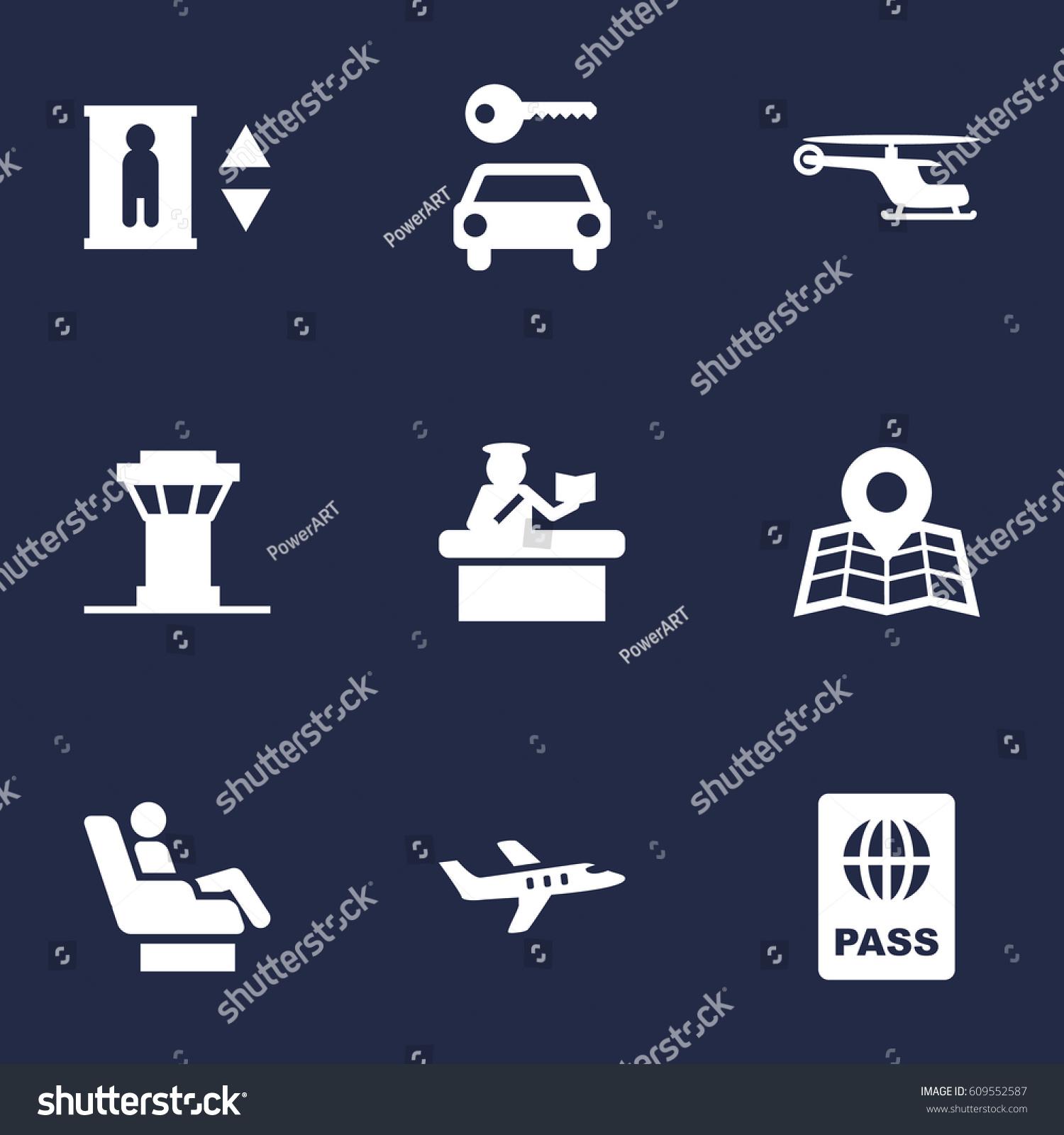 Set 9 Land Icons Setcollection Passport Stock Vector