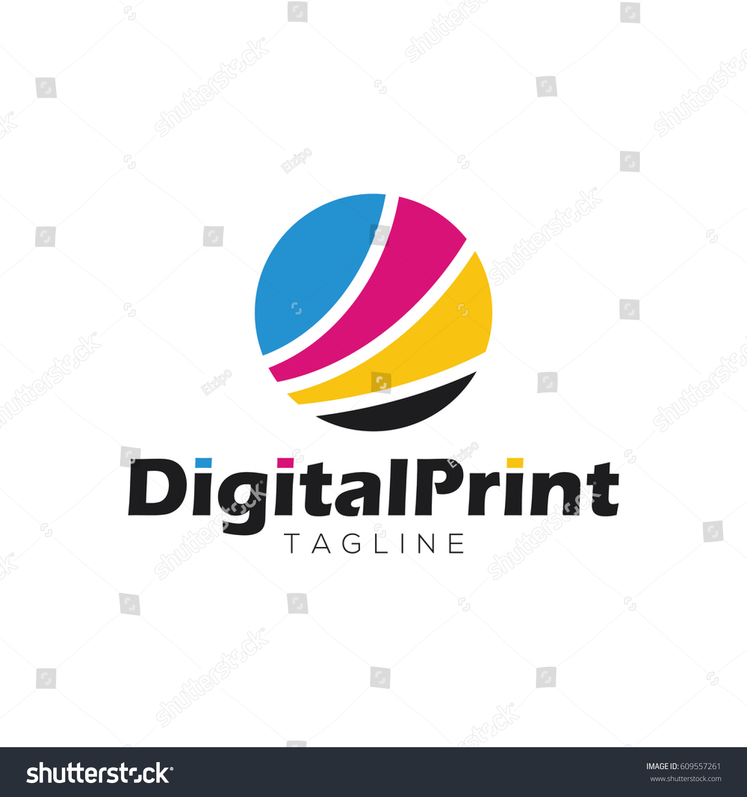 Digital Print Logo Design Template Stock Vector 609557261 ...