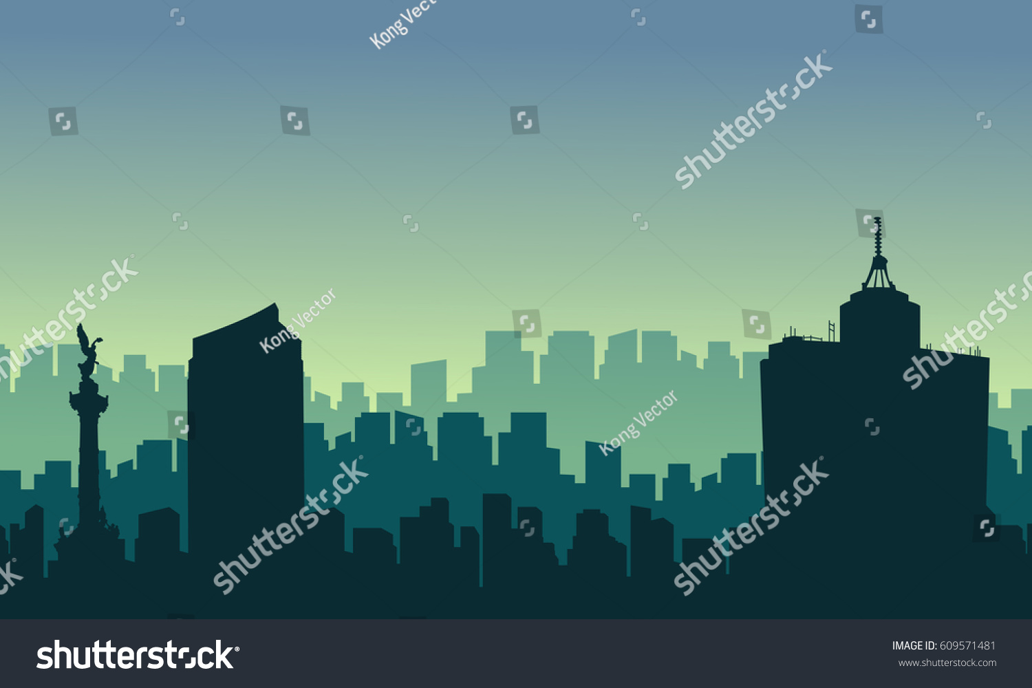 Scenery Mexico City Skyline Silhouettes Stock Vector