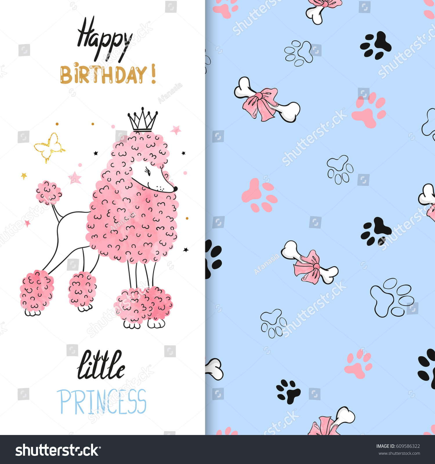 Watercolor birthday greeting card design little stock vector watercolor birthday greeting card design for little girl vector illustration of cute little princess poodle kristyandbryce Images