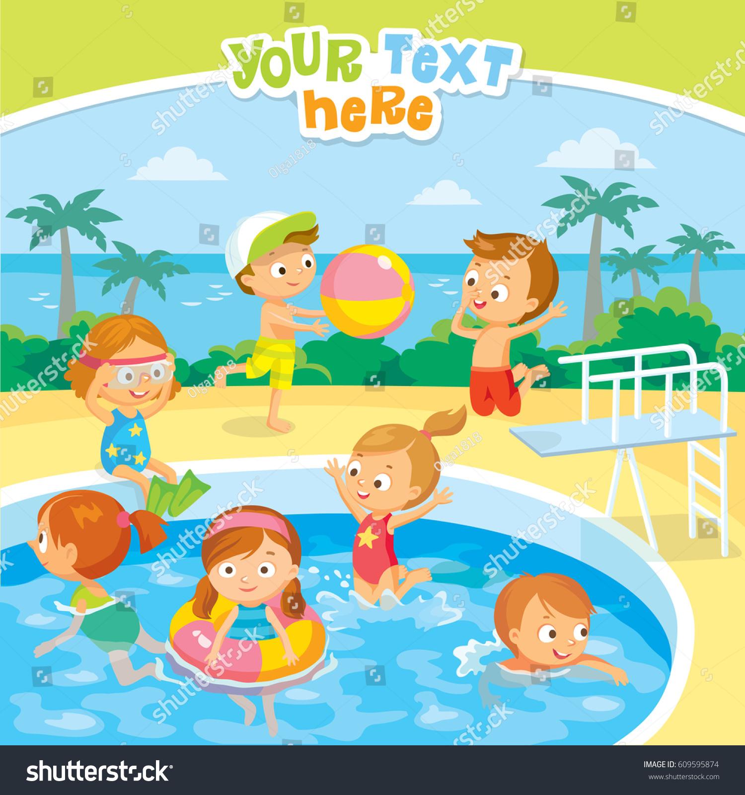 Kids Swimming Pool Stock Vector 609595874 Shutterstock