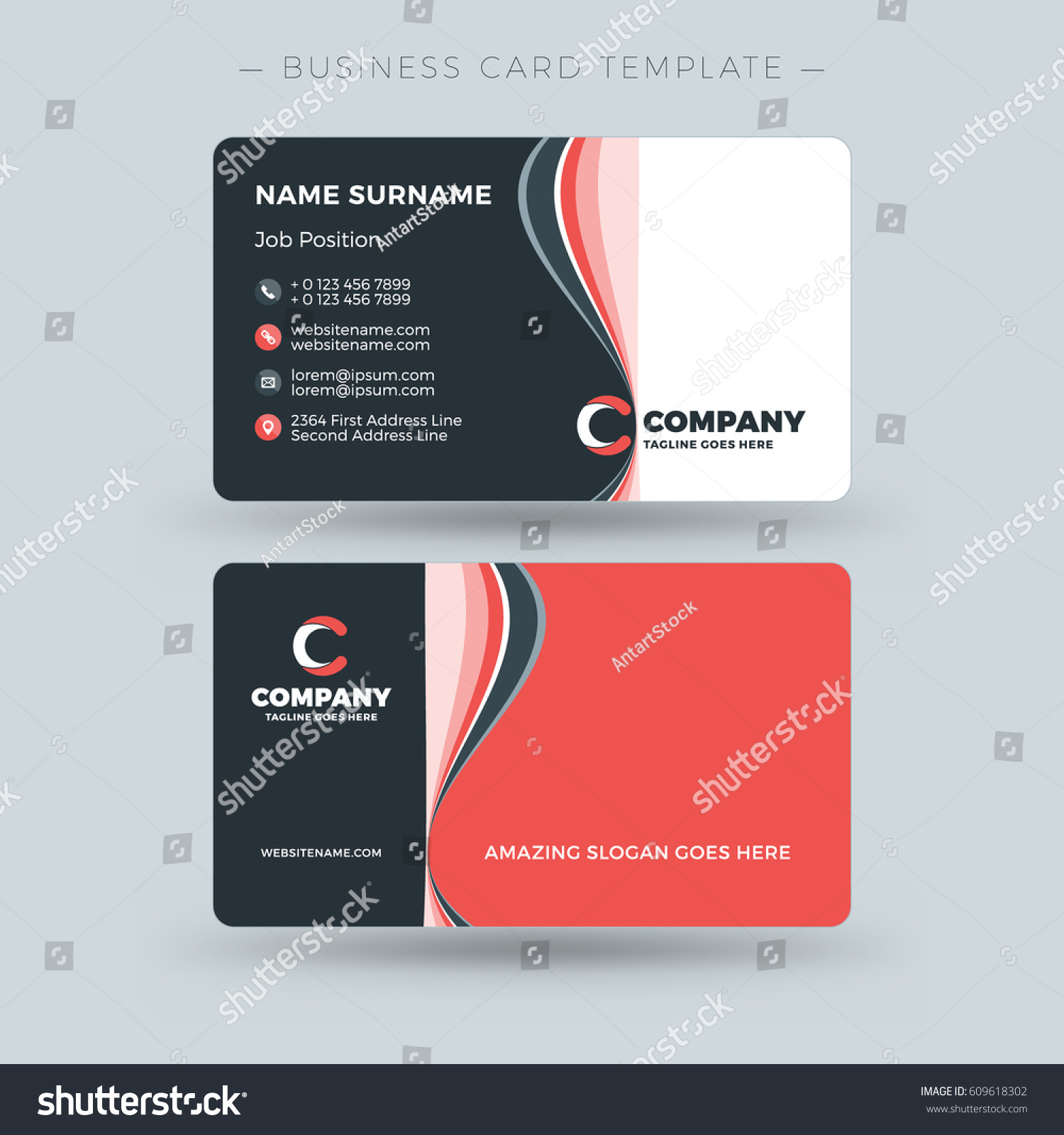 Doublesided Business Card Template Abstract Red Stock Vector - Double sided business card template