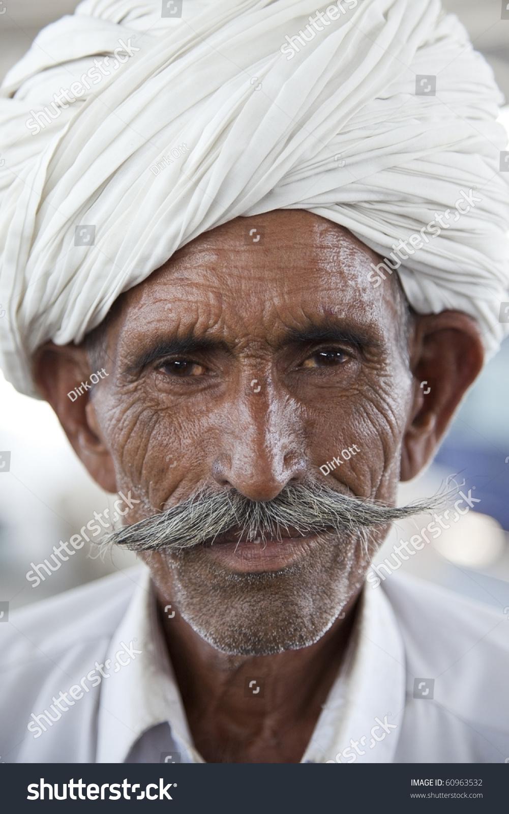 Portrait Rajasthani Indian Man Turban Typical Stock Photo