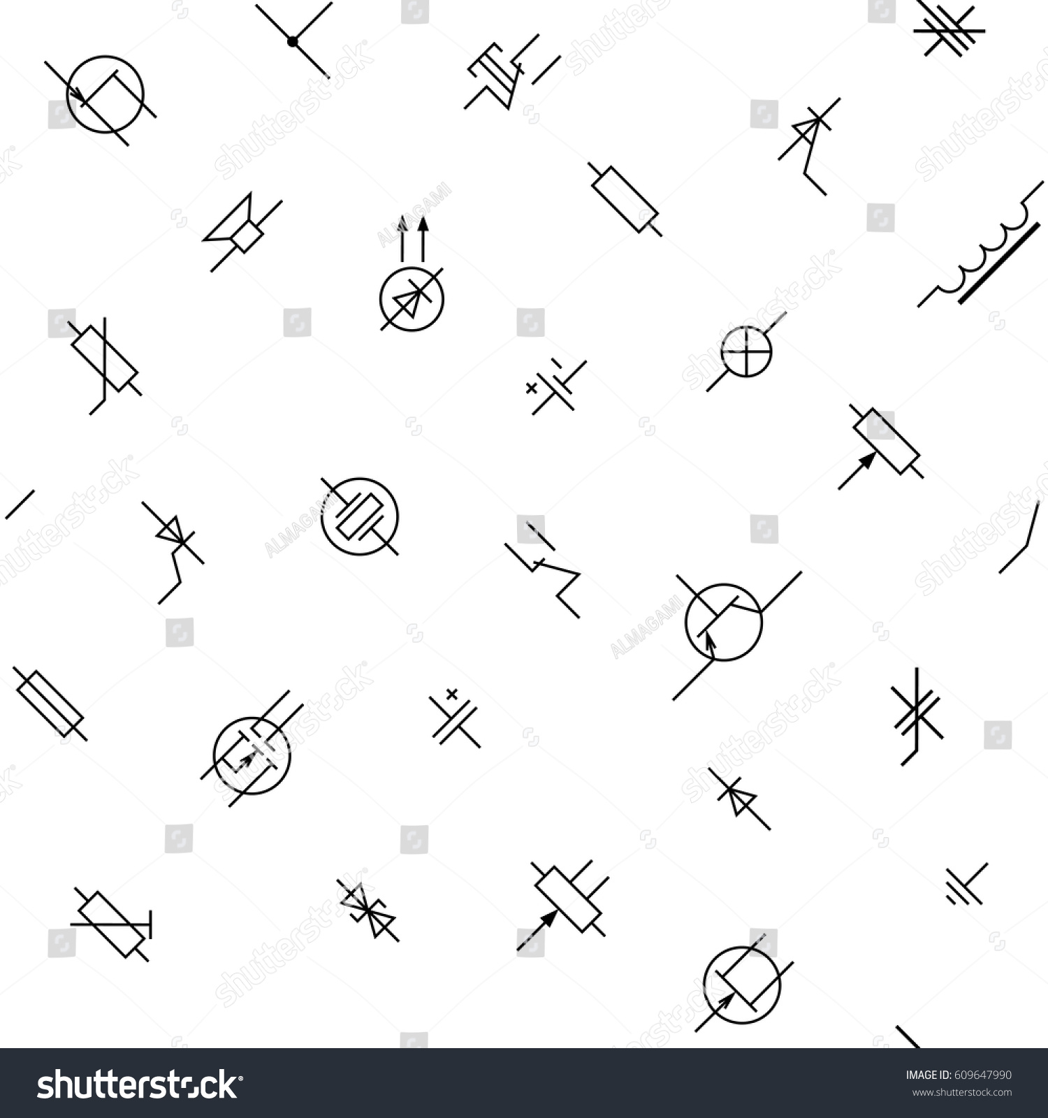 Black White Electronics Circuit Components Symbols Stock Vector ...
