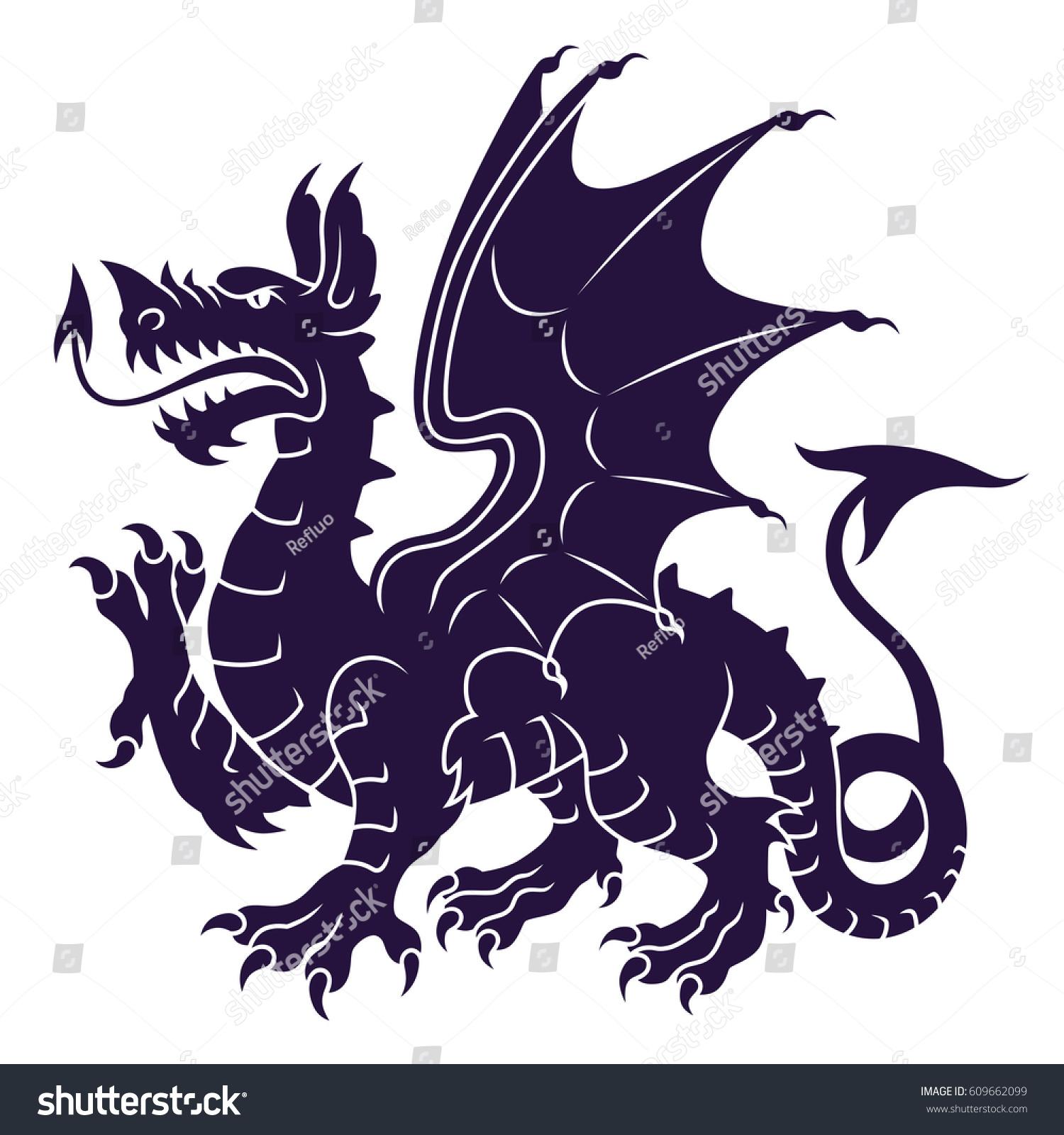 Dragon Heraldry: Heraldic Dragon Stock Vector 609662099