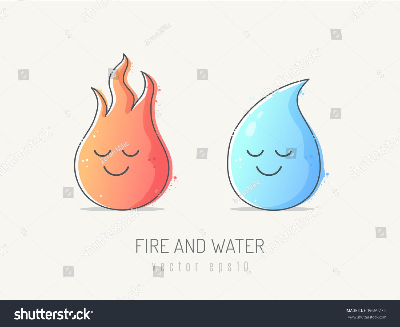 Line Art Illustration Style : Fire ball water drop cartoon mascot stock vector 609669734