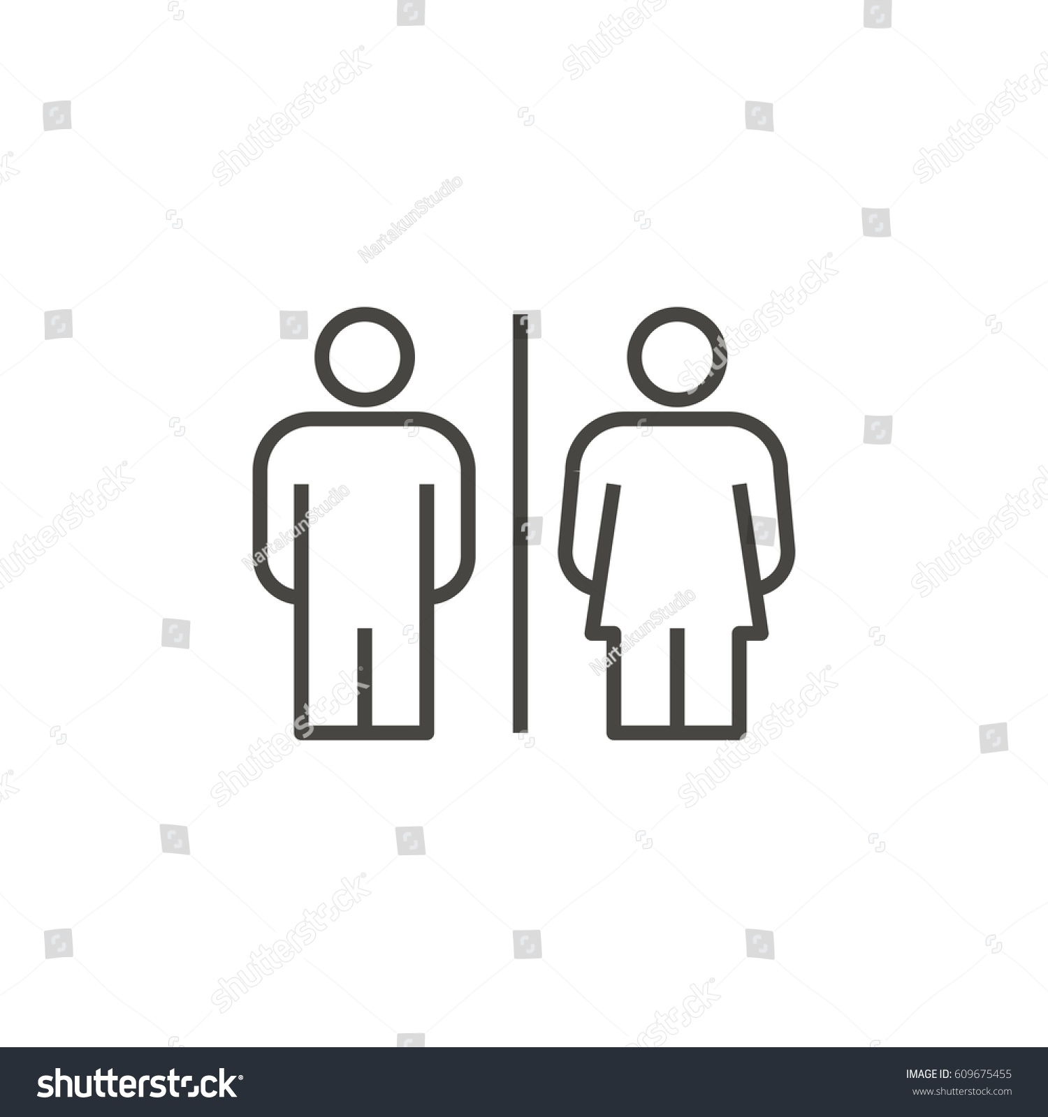 Girls bathroom sign outline - Toilet Male Female Outline Icon Vector