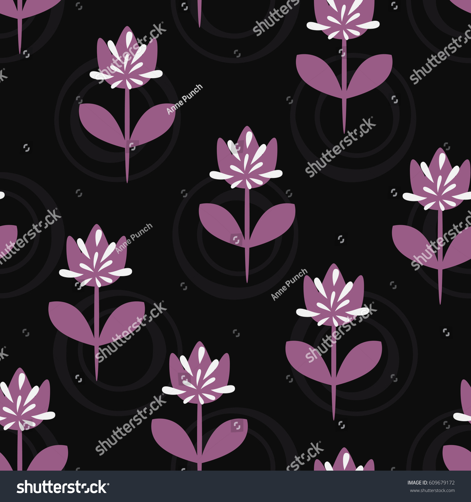 Simple floral pattern silhouettes of flowers with stems and leaves abstract buds round