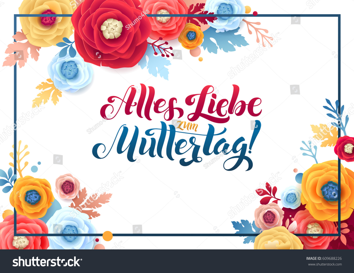Happy mothers day german text greeting stock vector 609688226 happy mothers day german text greeting card rose floral background kristyandbryce Choice Image