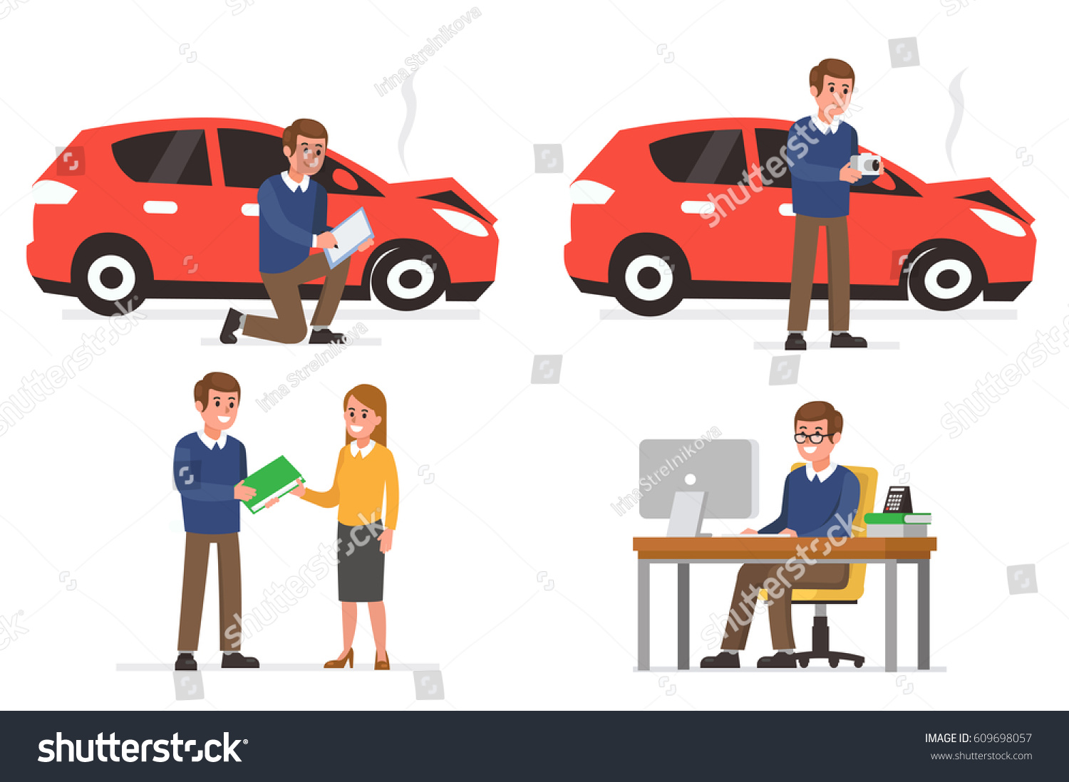 Insurance Agent Inspect Vehicle Damage Making Stock Vector ...