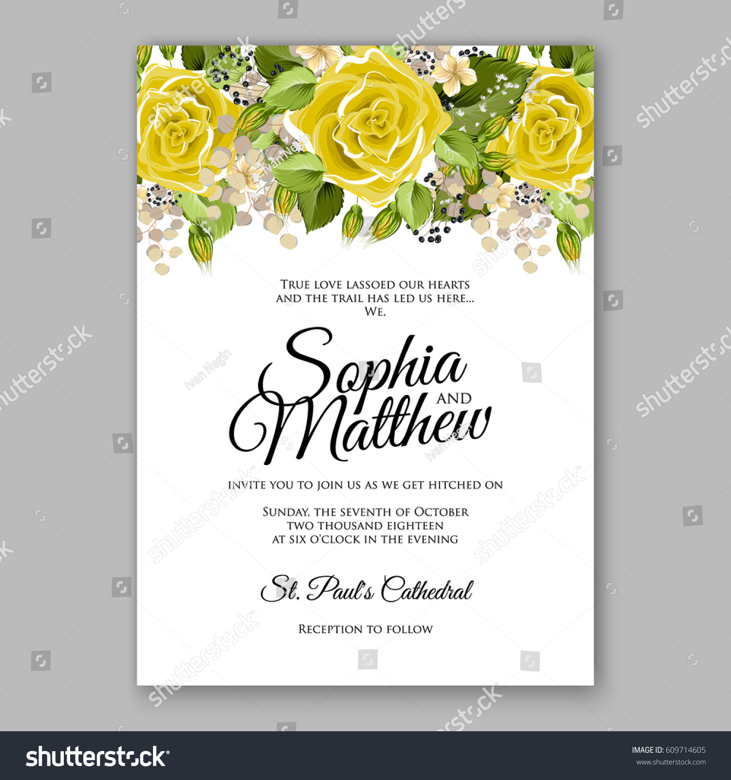 Yellow Rose Floral Wedding Invitation Printable Stock Vector ...