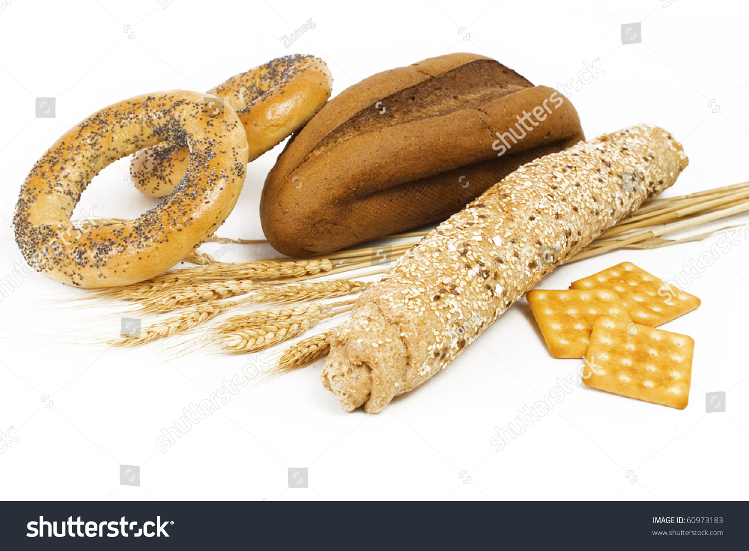 Nice Fresh Different Bread Isolated On White Background