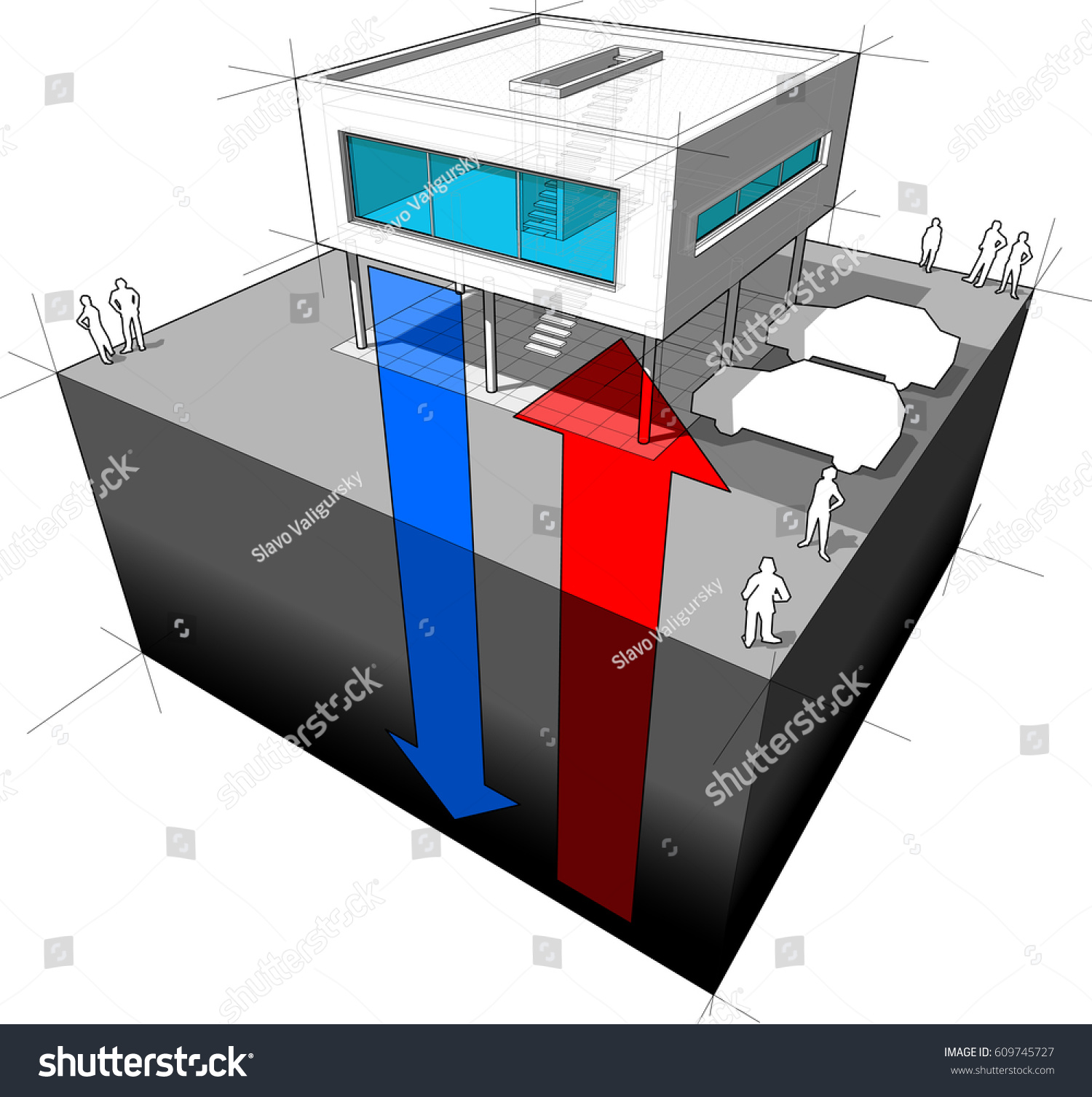 3d illustration of diagram of a modern house or villa receiving energy from the ground meaning