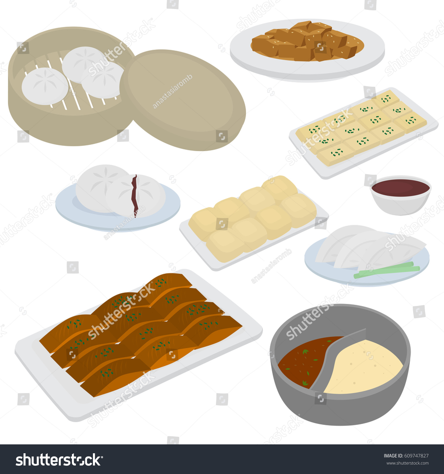set chinese food flat design elements stock vector