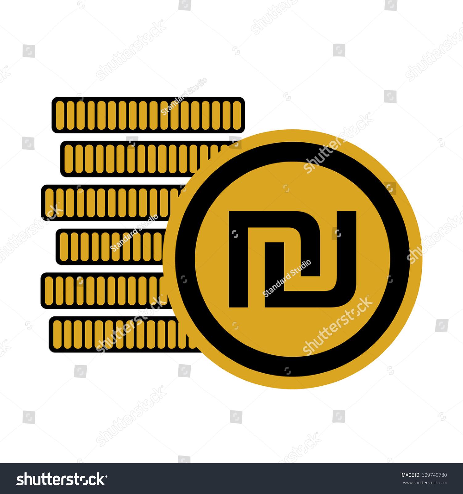 Money Six Golden Coins Israeli Shekel Stock Photo Photo Vector