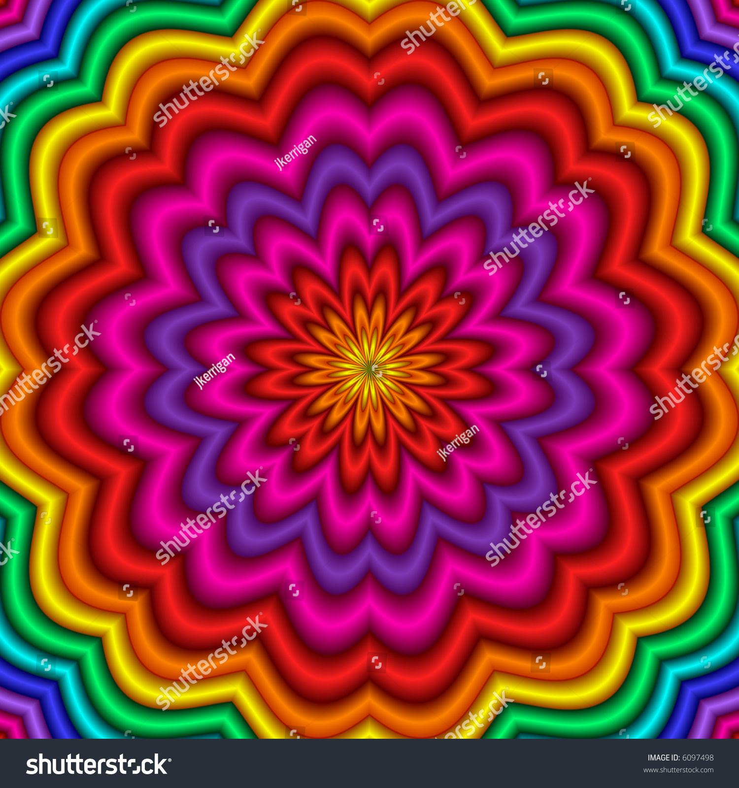 Fractal Black Flower Free Stock Photo: Abstract Fractal Kaleidoscope Rainbow Colors Stock