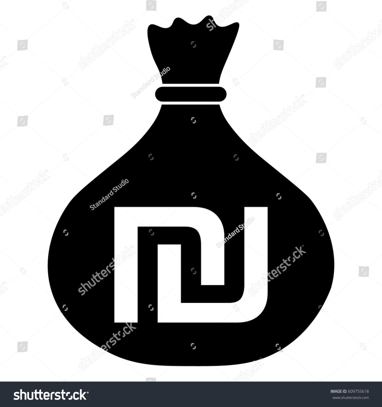 Money Bag Israeli Shekel Symbol Ils Stock Photo Photo Vector