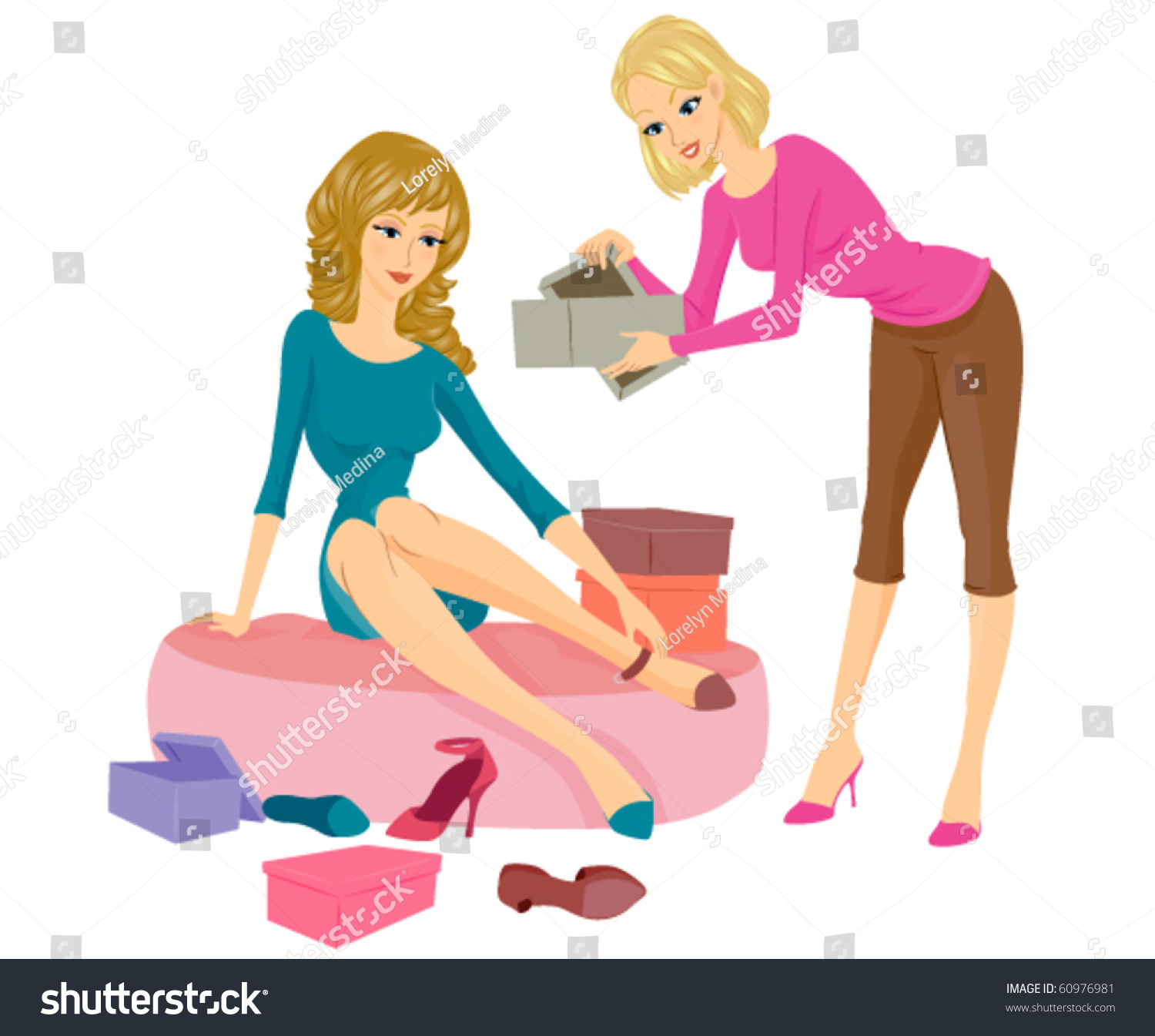 female s clerk assisting w sitting stock vector  a female s clerk assisting a w sitting on a cushy seat while trying on some