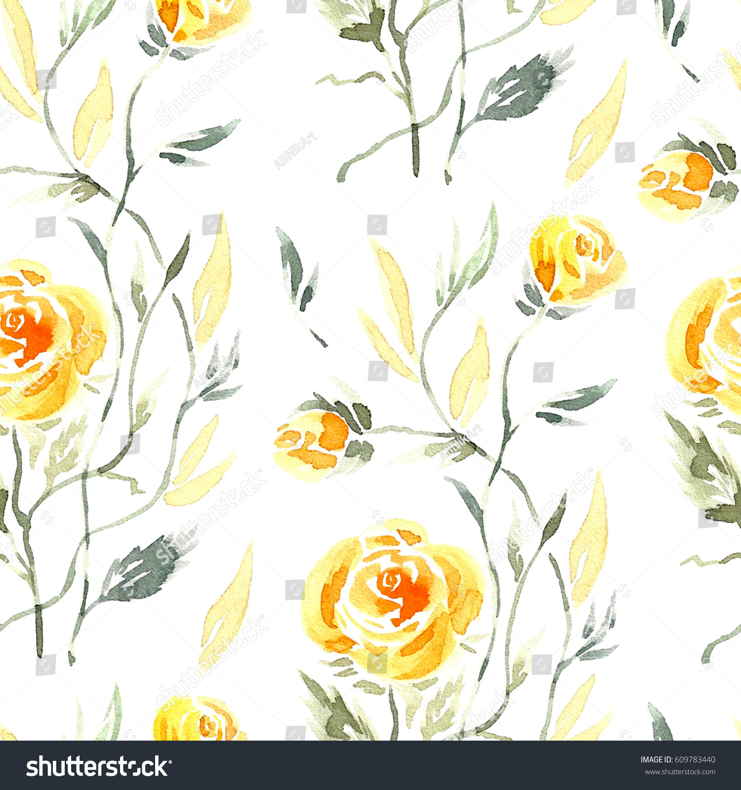 Climbing Rose Watercolor Yellow Roses Leaves Stock Illustration