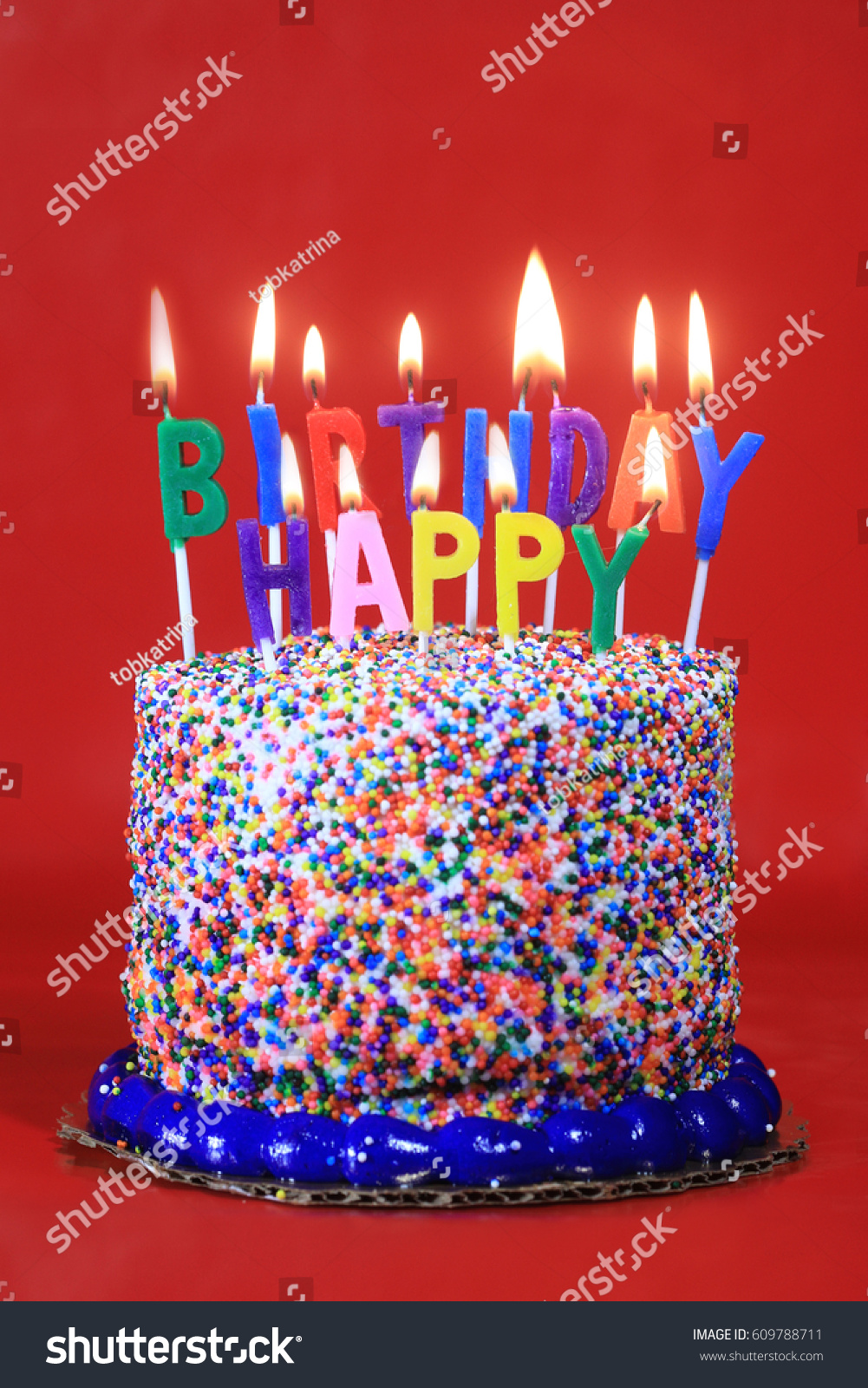 Happy Birthday Celebration Candles On Cake Stock Photo Edit Now