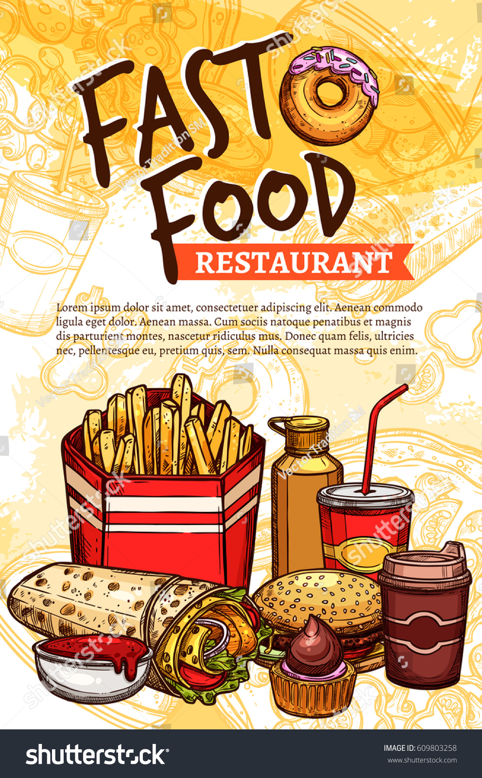 fast food sketch poster vector fastfood stock vector 609803258