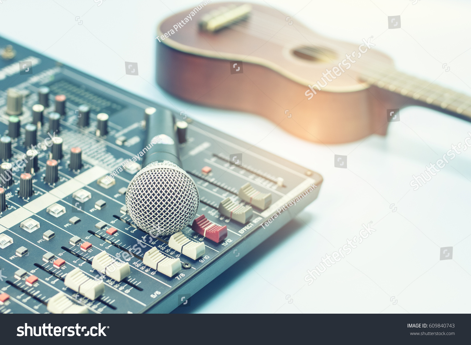 Microphone Audio Mixer Stock Photo Edit Now 609840743 Shutterstock Mic Circuit With