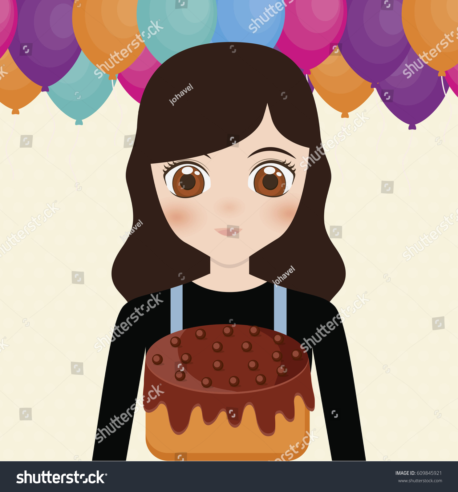 Happy Birthday Card Anime Girl Cake Stock Vector Royalty Free