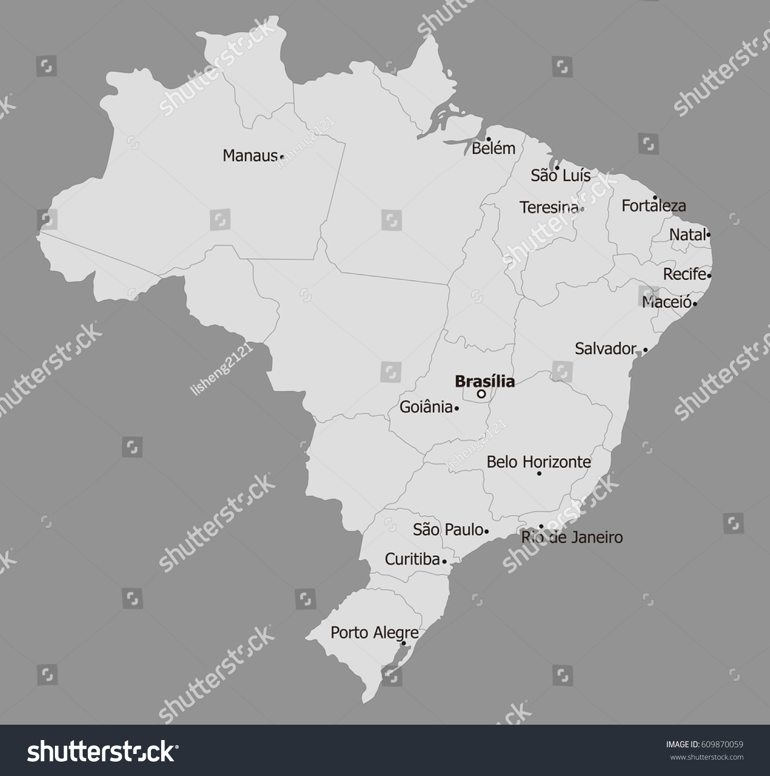 Brazil Map Main Cities Stock Vector (Royalty Free) 609870059 ...