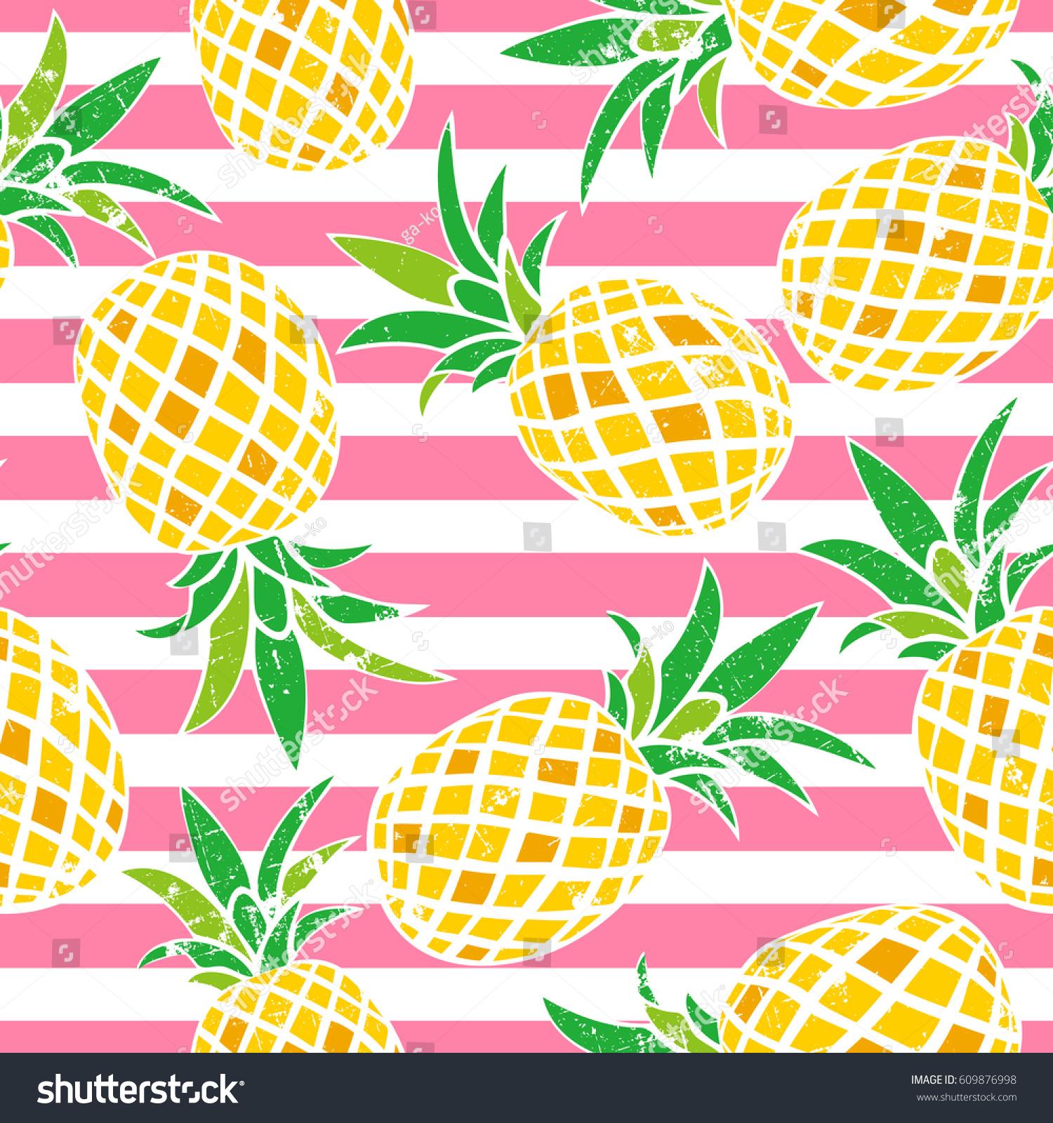 Cartoon pineapple vector background cute summer cartoon pineapple vector background cute summer pattern seamless textile illustration voltagebd Choice Image