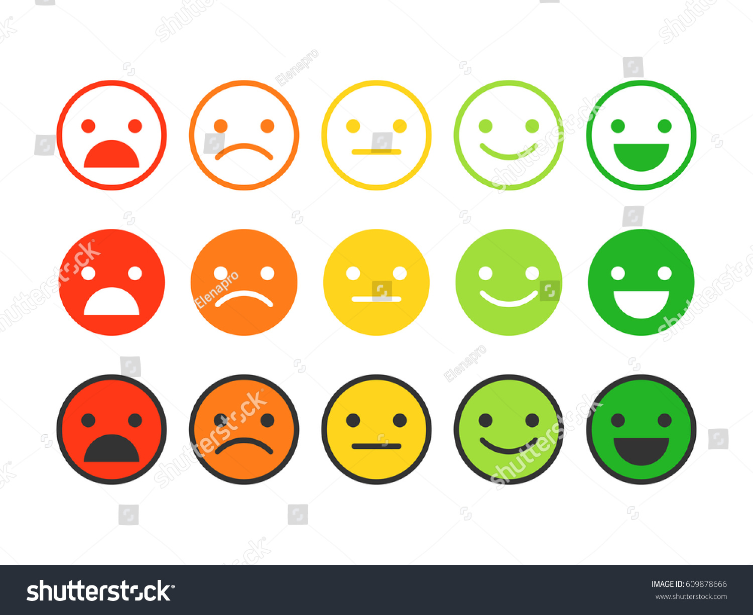 Colored Flat Icons Emoticonsdifferent Emotions Moods Stock ...