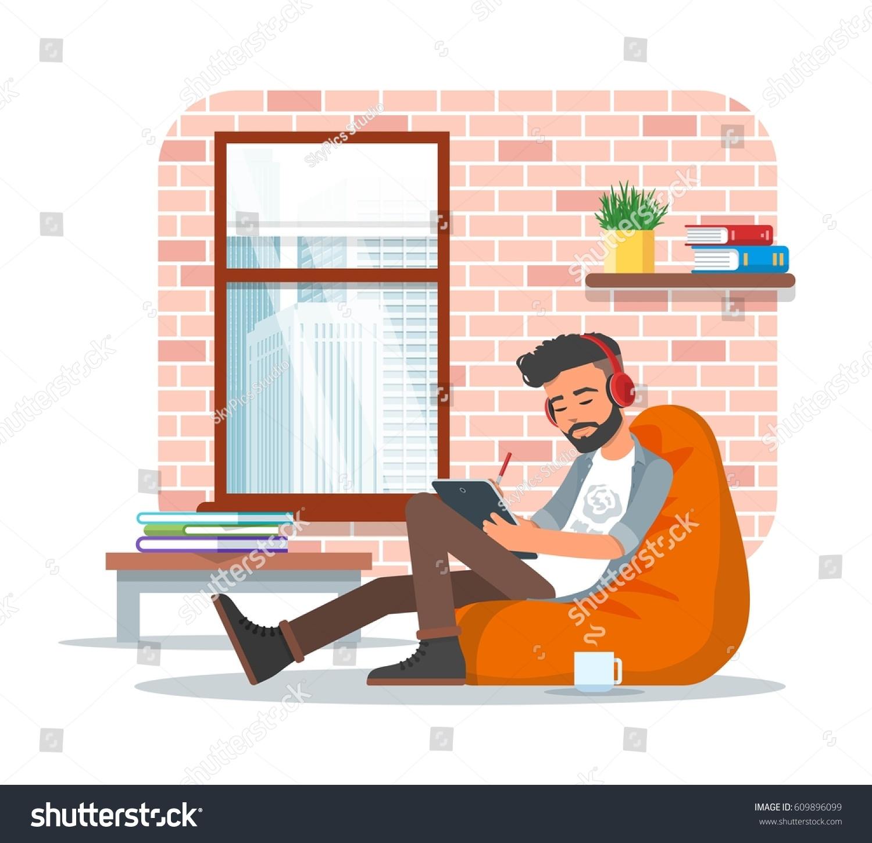 Vector Illustration Young Man Sitting Bean Stock Vector