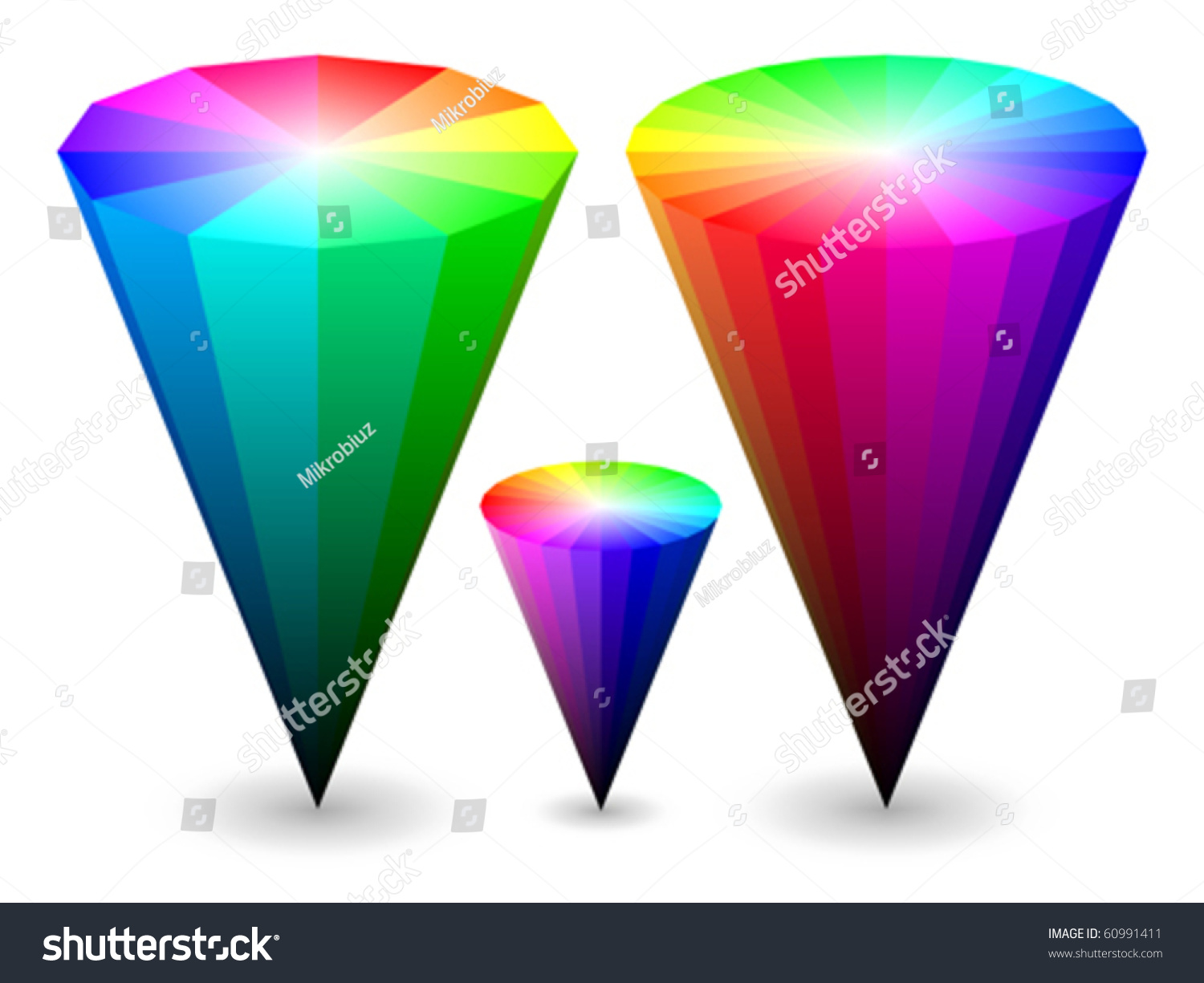 Pages rgb color - Three Different Vector Color Cones Representing Rgb Color Space