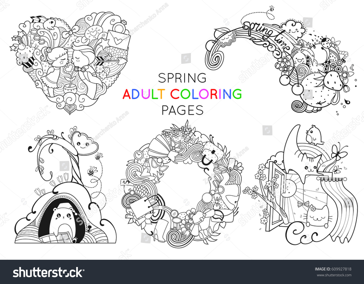 set spring coloring pages template stock vector 609927818