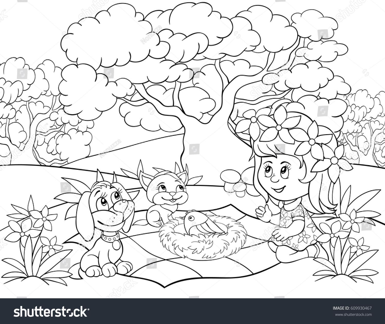 coloring pagebook for children activitycartoon stylegirldogcat