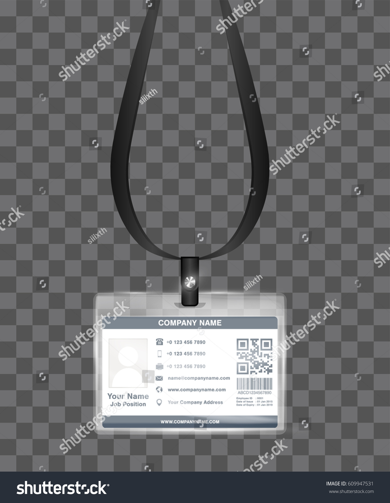 Simple Landscape Employee Id Card Template Stock Vector 609947531 ...