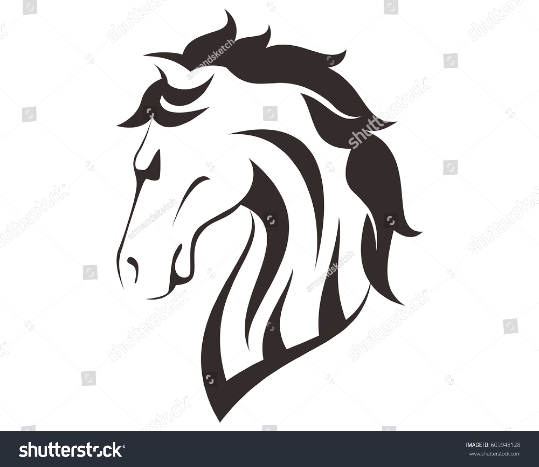Horse Head Line Art Drawing Illustration Stock Vector Royalty Free 609948128