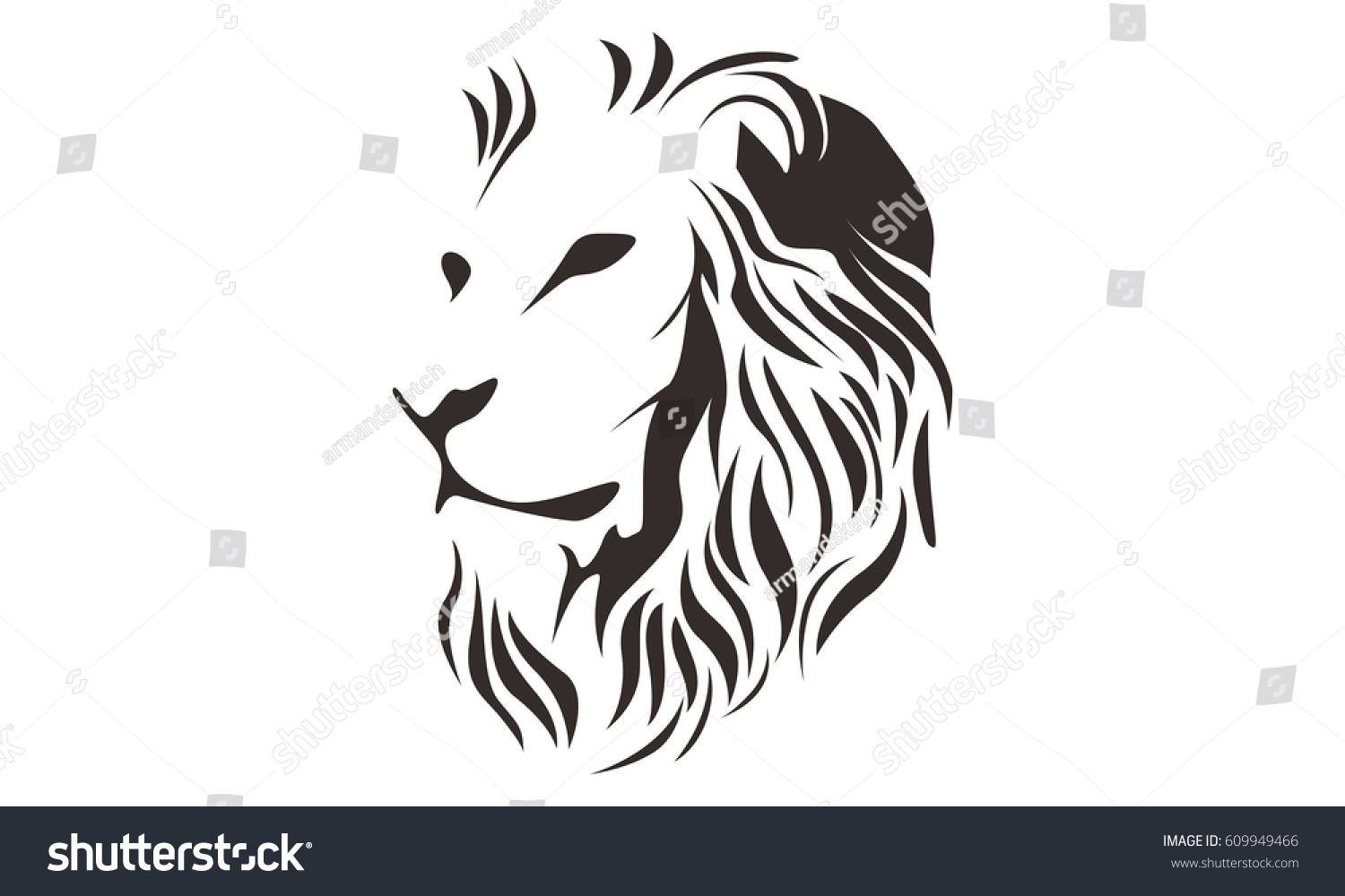 Line Drawing Lion Head : Lion head line art drawing illustration stock vector
