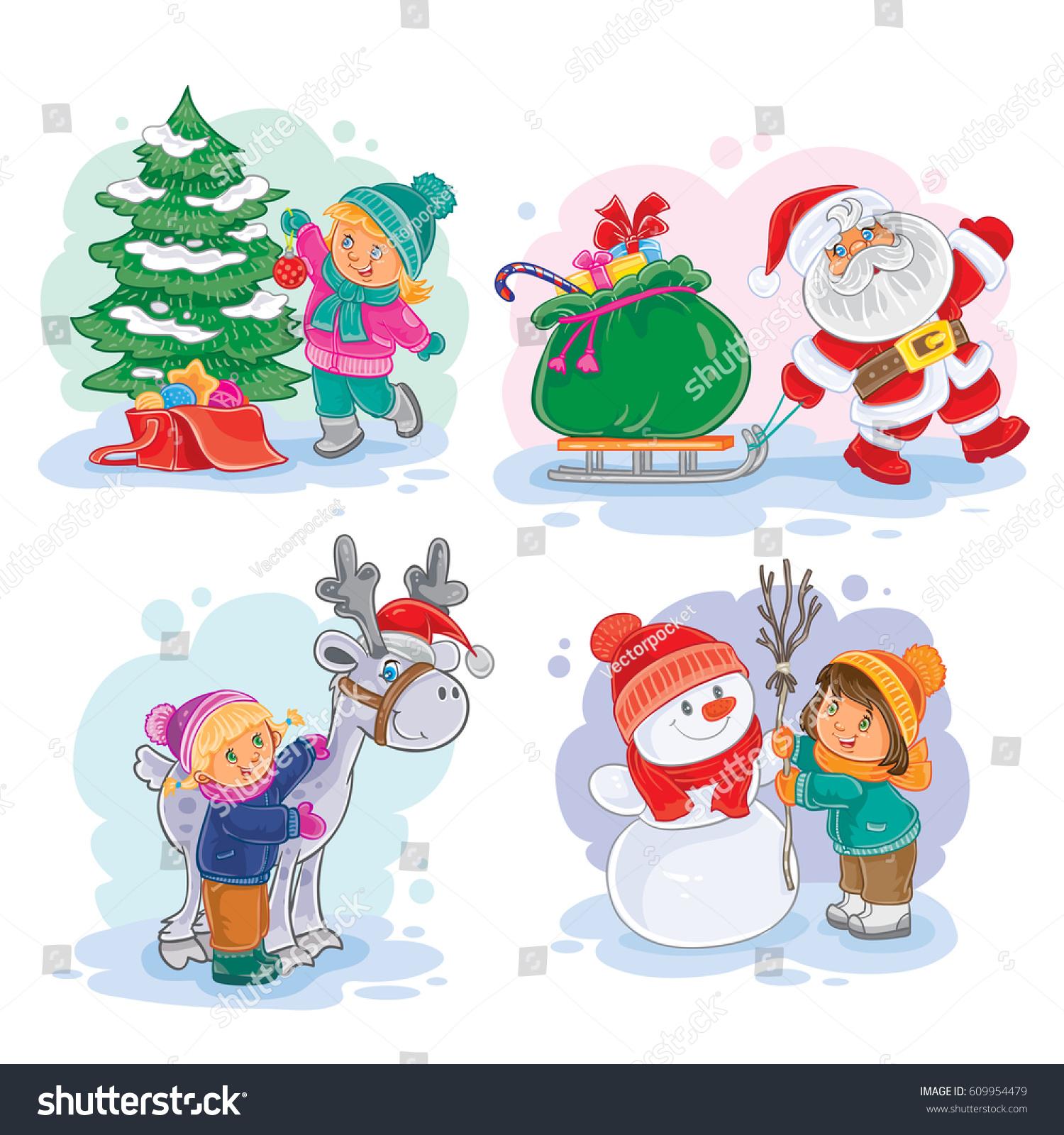 Set Icons Small Children Decorate Christmas Stock Illustration