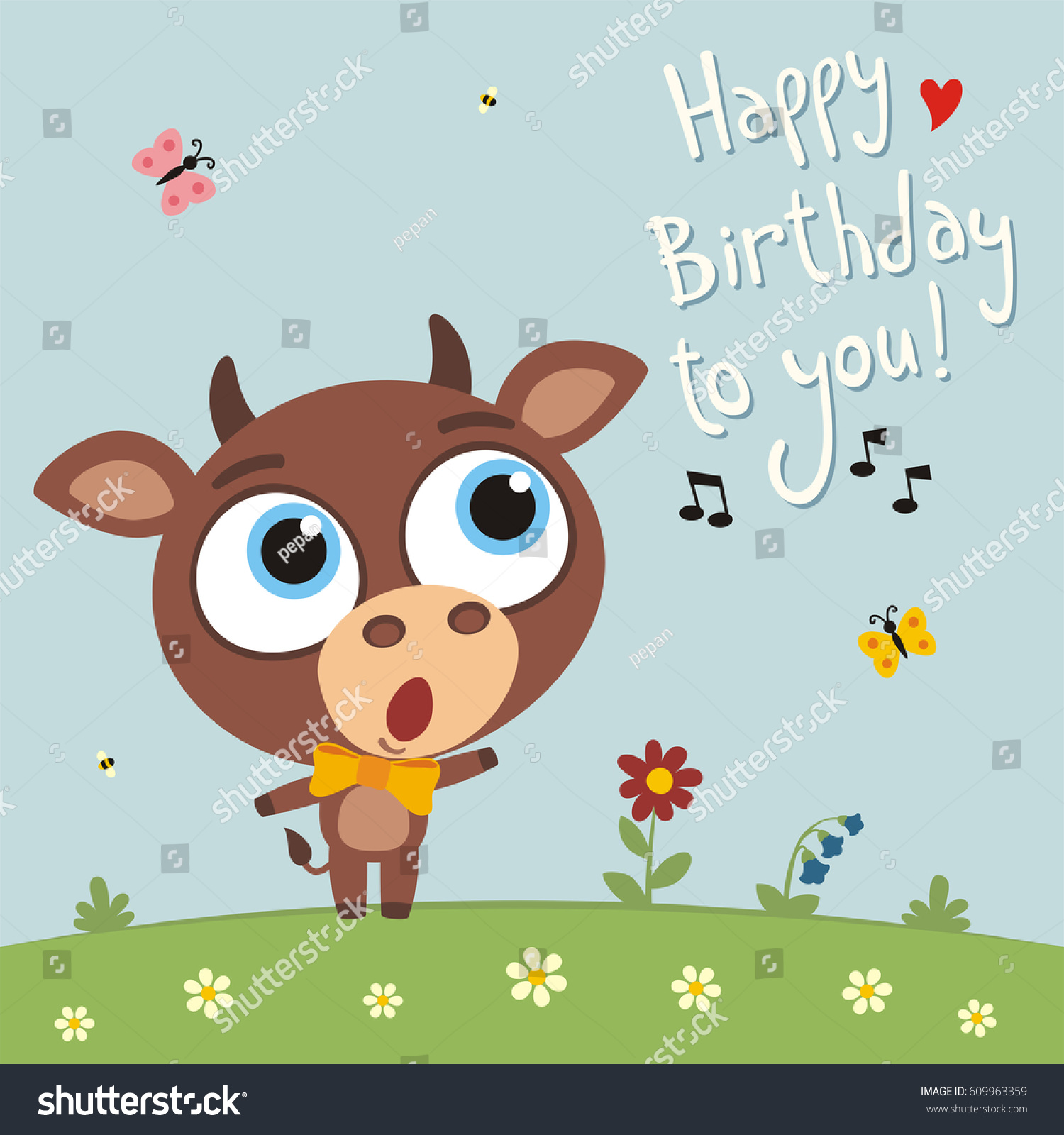 Happy birthday you funny cow sings stock vector 609963359 happy birthday to you funny cow sings birthday song card with cow in cartoon bookmarktalkfo Images