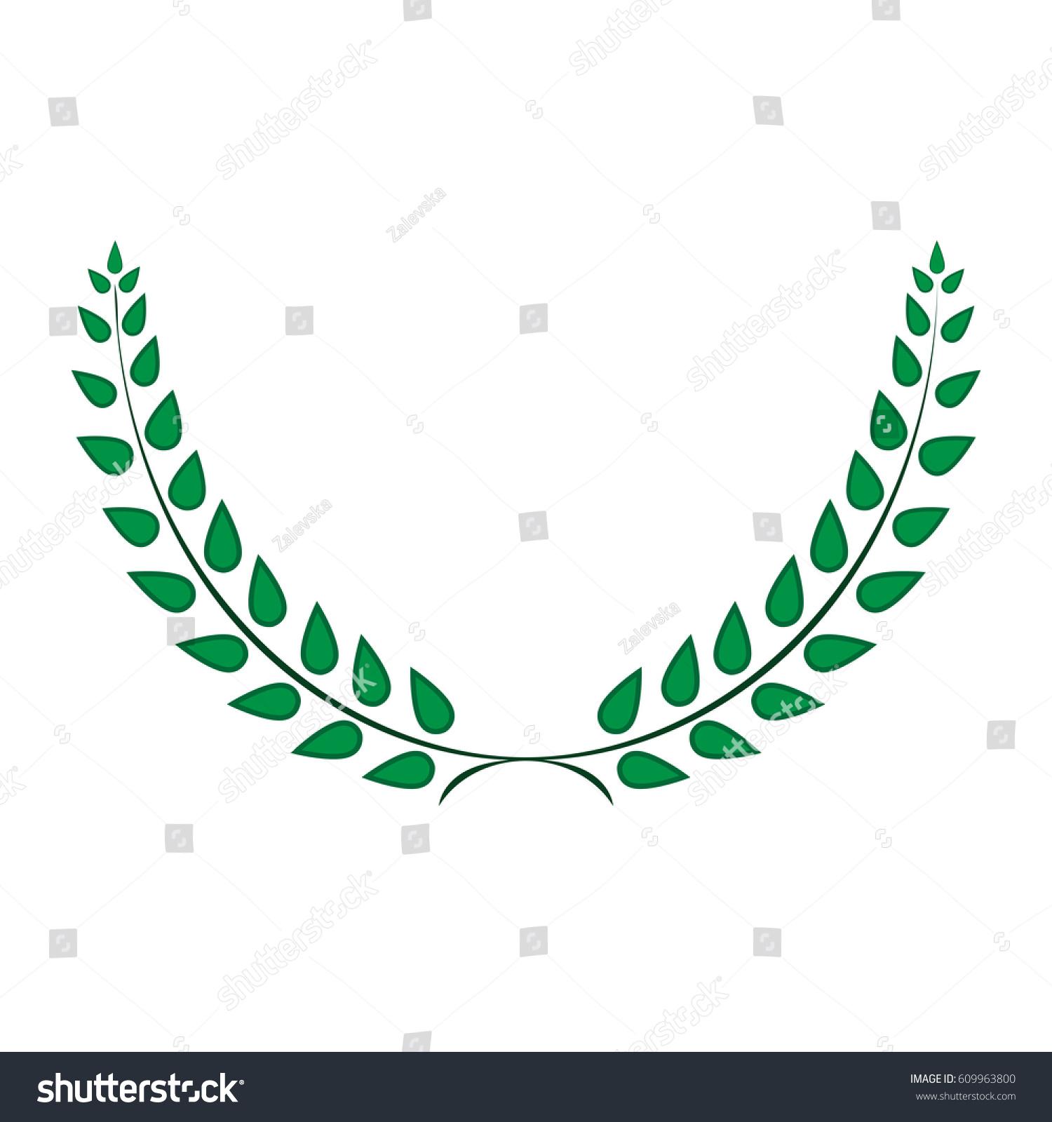 Sign Laurel Wreath Green Color Icon Stock Vector Royalty Free