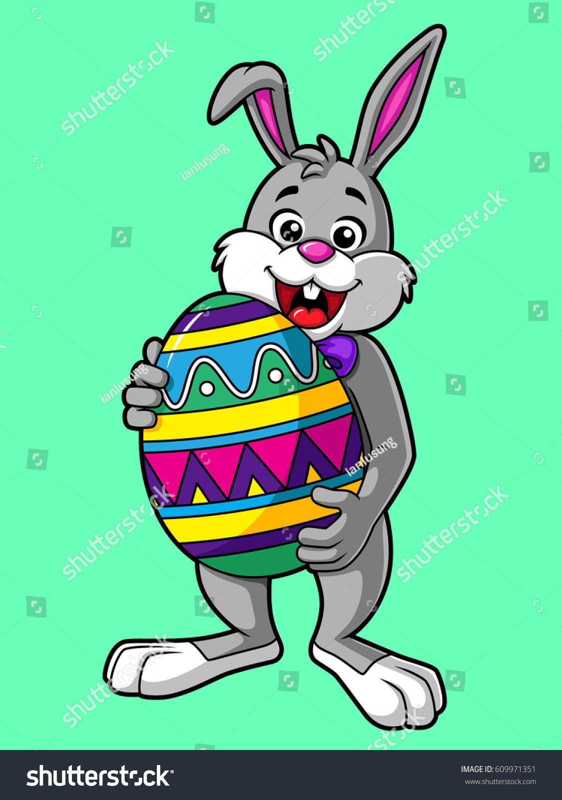 cartoon easter bunny carrying big egg stock vector 609971351
