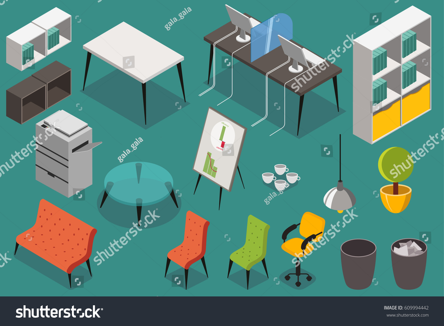isometric office furniture vector collection. Office Workplace Furniture. Vector Icons Set In 3d Isometric Design. Furniture Collection P