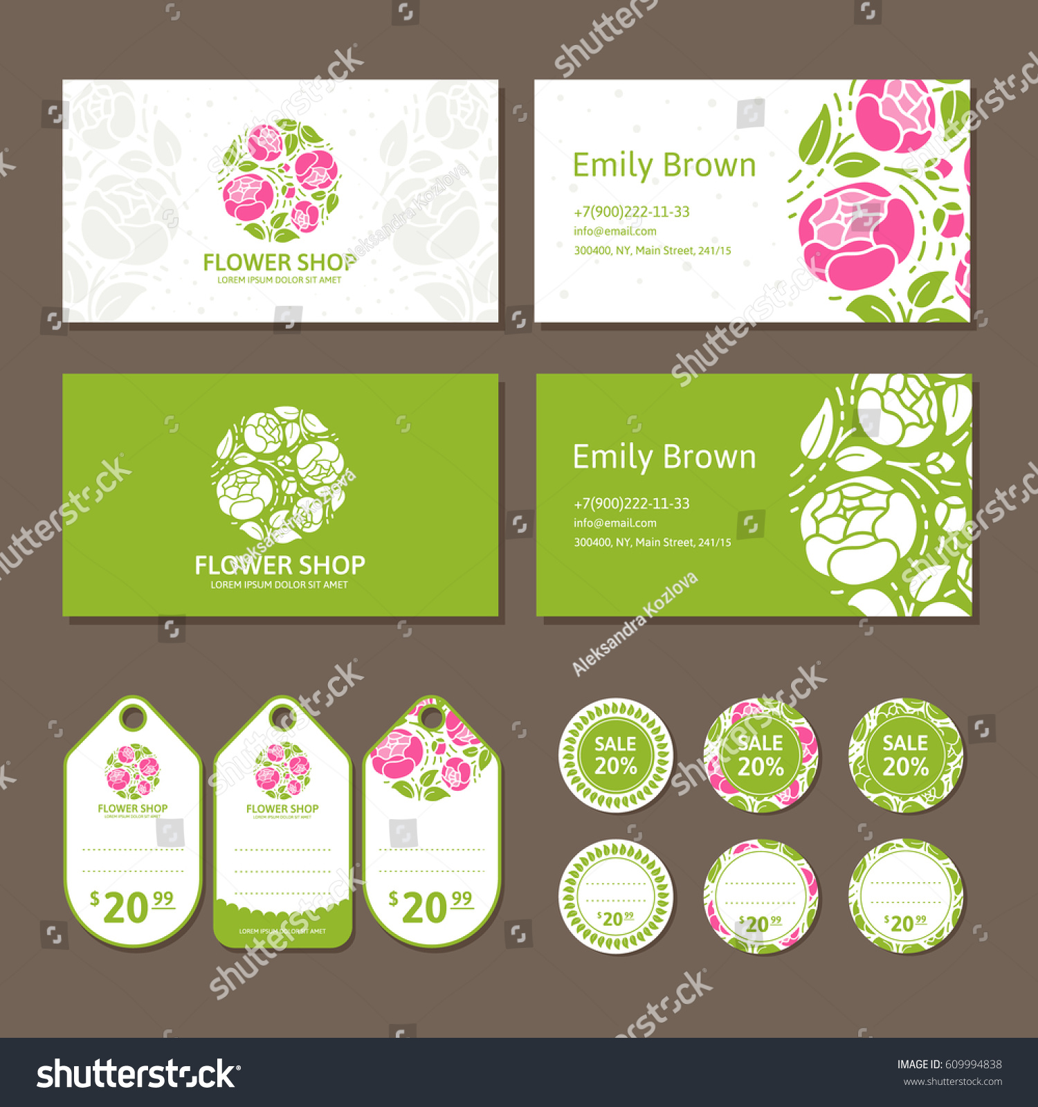 Corporate Identity Flower Shop Logo Business Stock Vector
