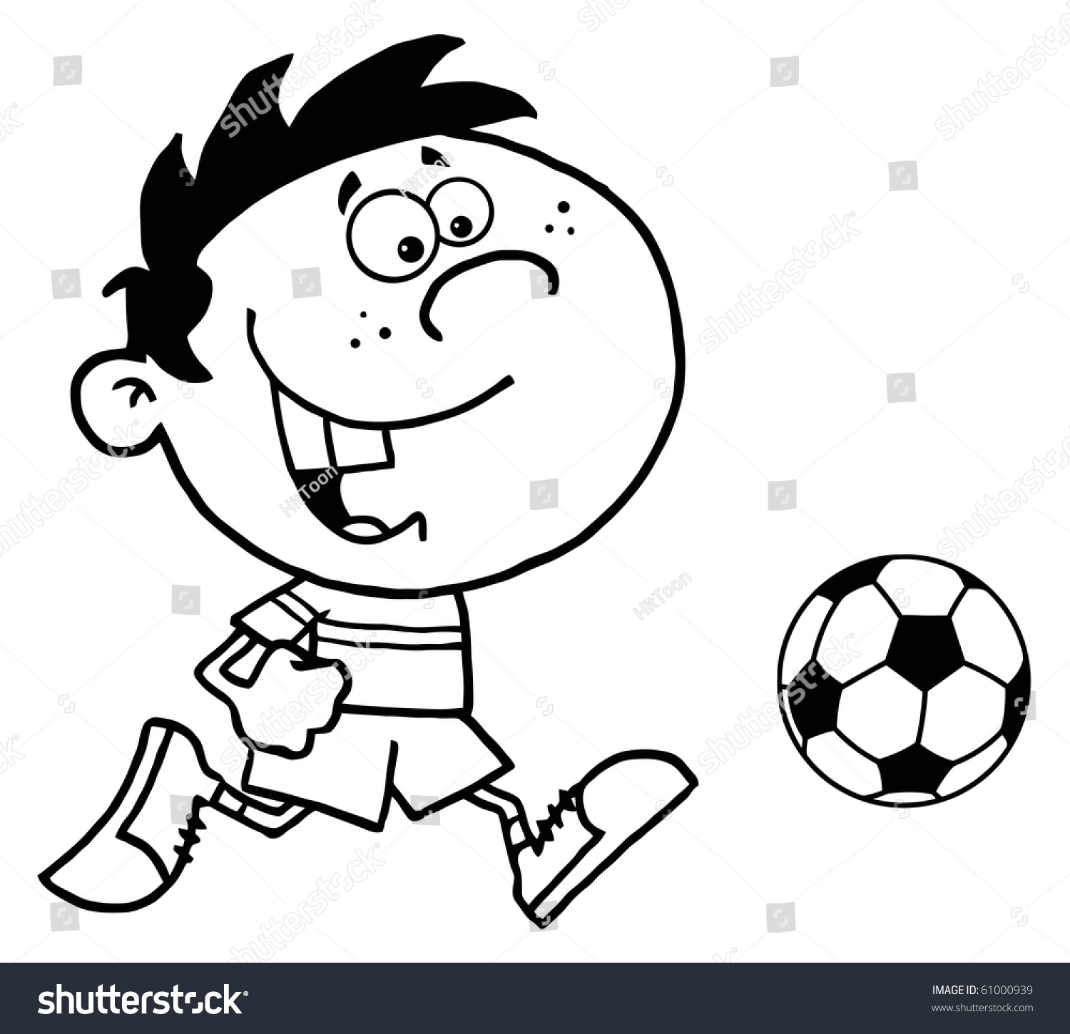 Coloring Page Outline Cartoon Soccer Player Stock Vector (Royalty ...