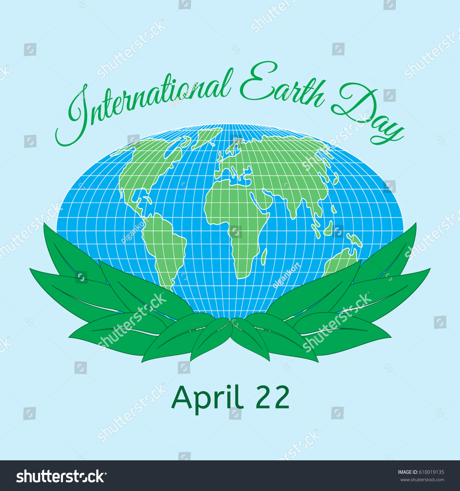 International Mother Earth Day Theme Globe Stock Vector Royalty