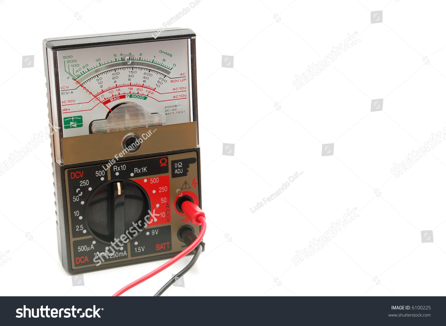 Analog Meter Background : An analog multimeter on a white background stock photo