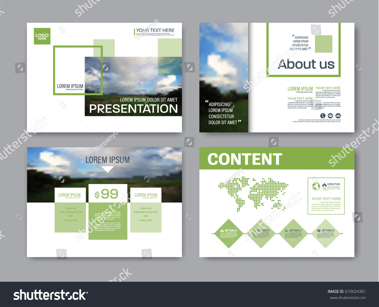 set presentation layout design template powerpoint stock vector